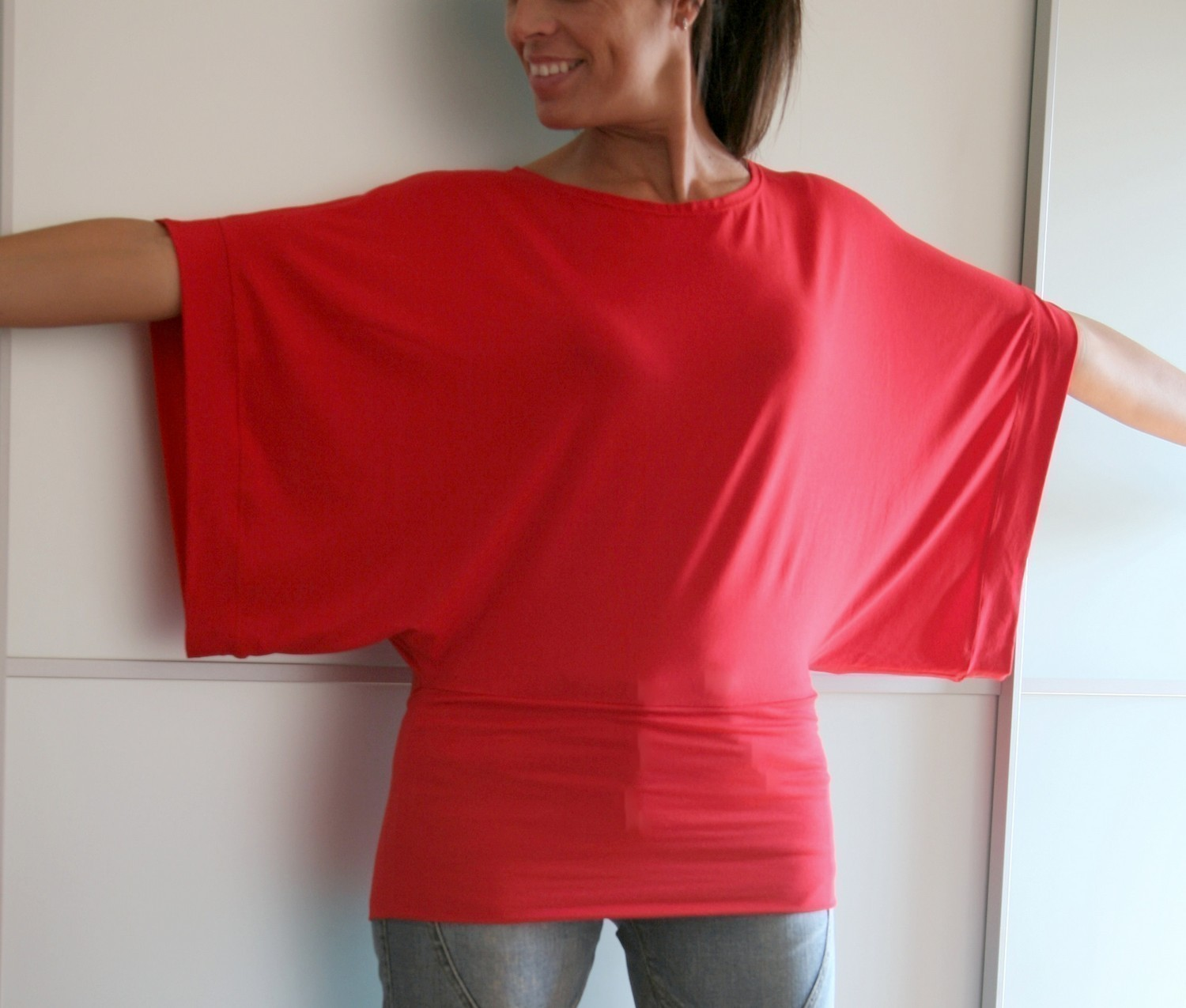 Chicca Style Red Kimono Top on The Best Red Dress