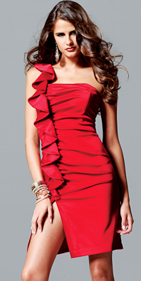 Faviana Red Ruffles on The Best Red Dress