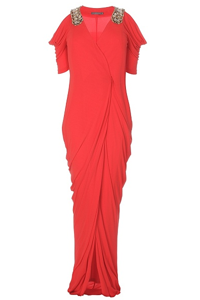 Alexander McQueen Red Draped Gown Best Red Dress