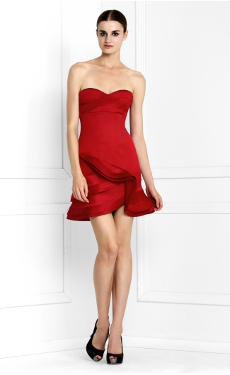 BCBG MaxAzria Red Strapless Satin Cocktail Dress on The Best Red Dress