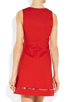 Versace Red stretch cotton a line dress