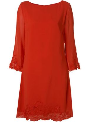 Top Shop Tall Red 3D Flower Embellished Shift Dress The Best Red Dress