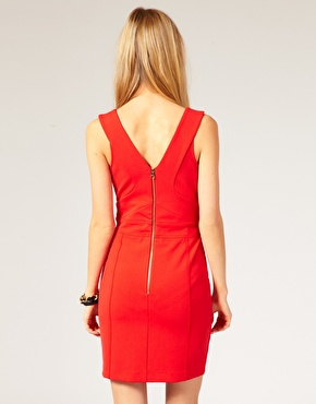 Ted Baker Red Mini Dress with panels The Best Red Dress exposed zipper