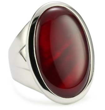 ELLE Jewelry Dyed Red MotherofPearl Large Sterling Silver Ring on The Best Red Dress