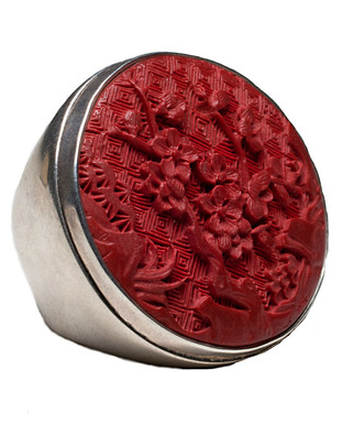 Femme Metale Jewelry - Big Cinnabar Ring on The Best Red Dress