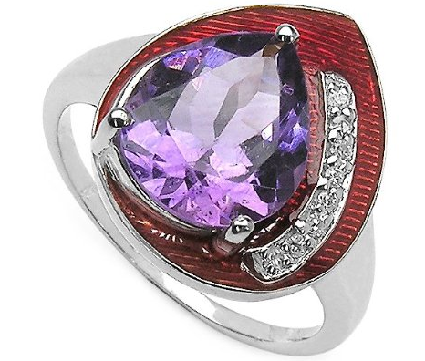 Genuine Amethyst & Cubic Zirconia with Ruby Red Enamel Sterling Silver Ring The Best Red Dress