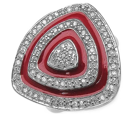 Genuine Cubic Zirconia with Ruby Red Enamel Sterling Silver Ring on The Best Red Dress