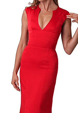 The Best Red Dress JS Collections Red Carpet V-Neck Gown