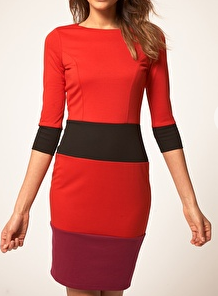 The Best Red Dress ASOS Pencil Dress in Color Block