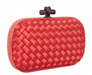 The Best Red Dress Bottega Veneta Magma basket woven sateen Ayers Knot Clutch