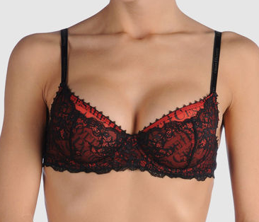 The Best Red Dress CESARE PACIOTTI LINGERIE red and black lace bra Yoox