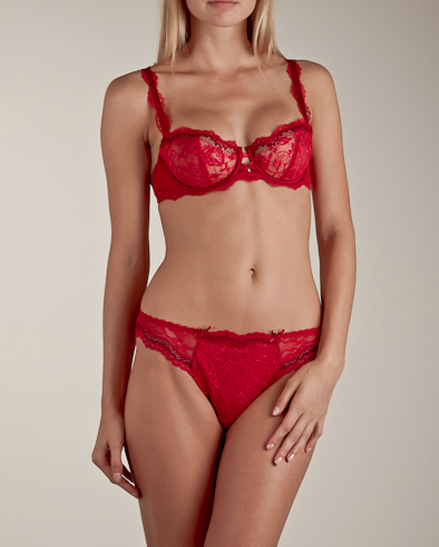 The Best Red Dress Chantelle Eternelle Red Demi-Cup Bra Matching Panties