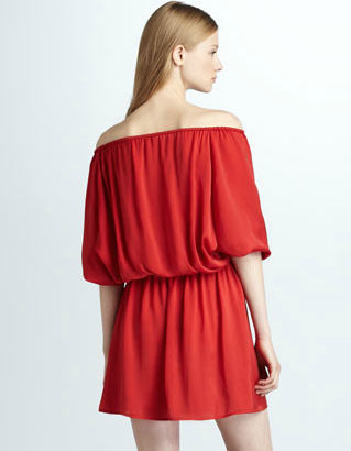 The Best Red Dress Joie Off The Shoulder Red Jersey Dress on The Best Red Dress.com