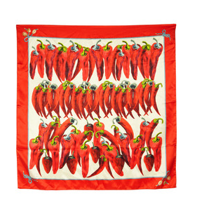 The Best Red Dress Dolce &amp; Gabbana Pepper Print Silk Satin scarf The Best Red Dress.com