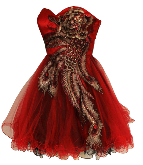The Best Red Dress Metallic Peacock Embroidered Red Dress The Best Red Dress