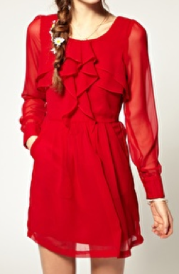 The Best Red Dress Pepe Jeans Red Ruffle Front Dress The Best Red Dress.com