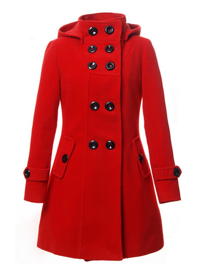 The Best Red Dress LANHUACAO Red Wool Trench Coat Long Jacket Outwear