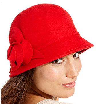 The Best Red Dress Nine West Red Hat Felt Cloche with Flower