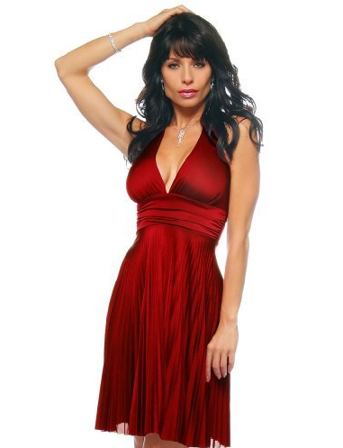 Marilyn Monroe Style Red Pleated Halter Cocktail Dress