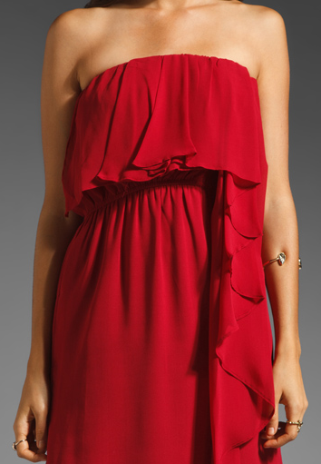 MM Couture by Miss Me Red Strapless Chiffon Dress