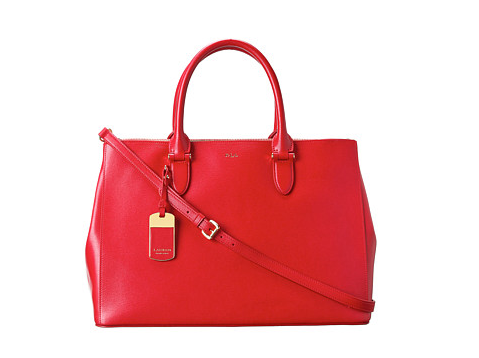 Red LAUREN Ralph Lauren Newbury Double Zip Satchel